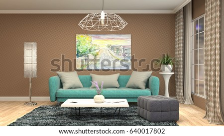 Interior living room. 3d illustration #640017802