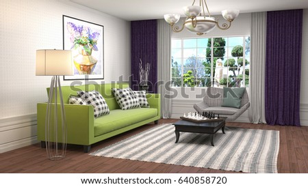 Interior living room. 3d illustration #640858720
