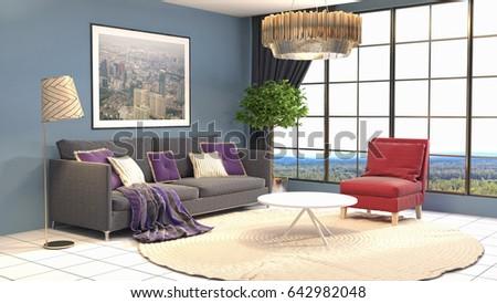 Interior living room. 3d illustration #642982048