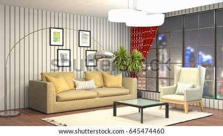 Interior living room. 3d illustration #645474460