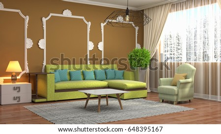 Interior living room. 3d illustration #648395167