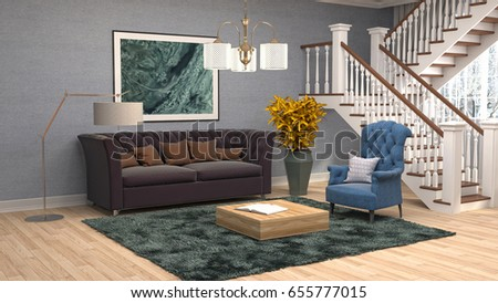 Interior living room. 3d illustration #655777015