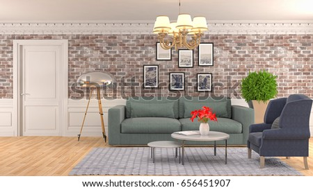 Interior living room. 3d illustration #656451907