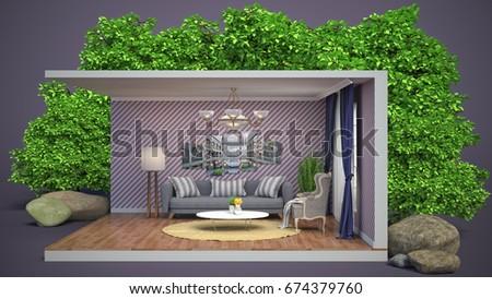 Interior living room. 3d illustration #674379760