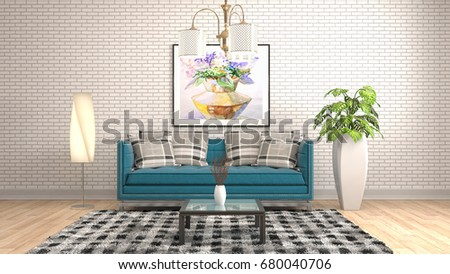 Interior living room. 3d illustration #680040706