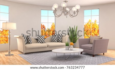 Interior living room. 3d illustration #763234777