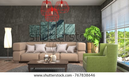 Interior living room. 3d illustration #767838646