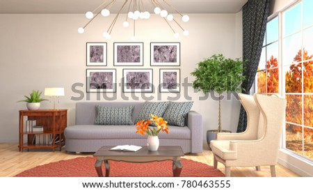 Interior living room. 3d illustration #780463555
