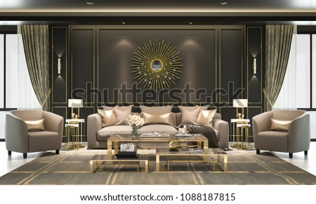 Interior living room, modern classic luxury style, with loose sofa, gold frame, black wall, 3D rendering, 3D illustration