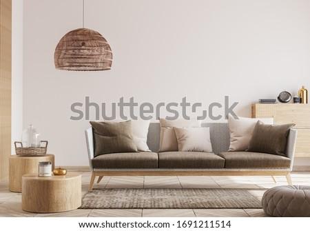 interior living room, rattan, modern loft, 3D render, 3D illustration