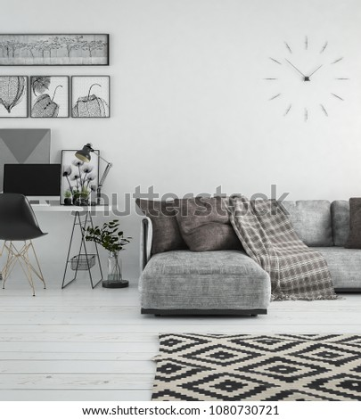 Interior living room, scandinavian style, with loose sofa & furniture, 3D rendering, 3D illustration