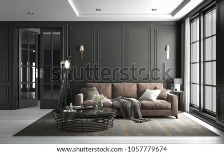 Interior living room studio, black modern classic style, with loose sofa, mock-up type, 3D rendering, 3D illustration