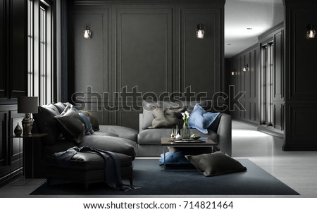 Interior living studio mock-up, black classic style, 3D rendering, 3D illustration