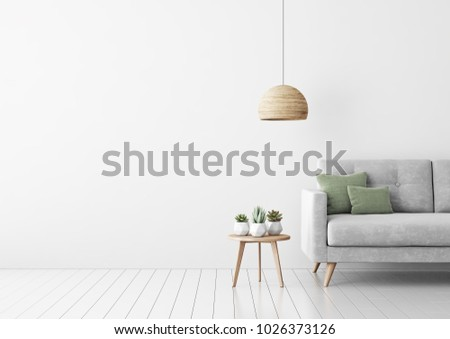 Interior mock up with gray velvet sofa, green pillows, coffee table, succulents and hanging lamp in living room with white wall. 3D rendering.