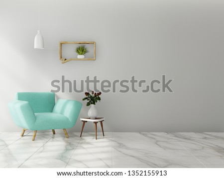 Interior mock up with velvet armchair in living room with white wall. 3D rendering.
