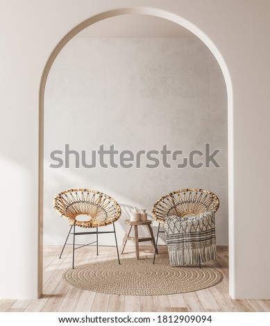Interior mock up with wooden rattan armchairs, trendy carpet and stylish home accessories on beige wall background. Scandinavian style 3D render, 3d illustration