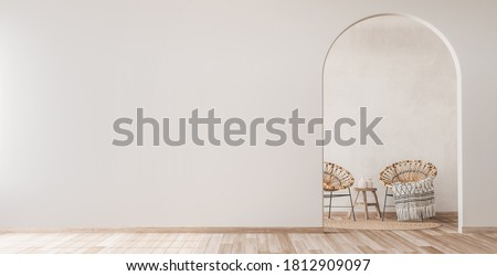Interior mock up with wooden rattan armchairs, trendy carpet and stylish home accessories on beige wall background. Scandinavian style, panorama, 3d render, 3d illustration