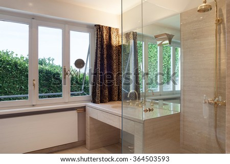 Interior, modern bathroom of an house, shower and sink #364503593