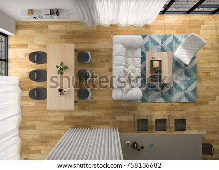 Interior modern design room top view 3D illustration