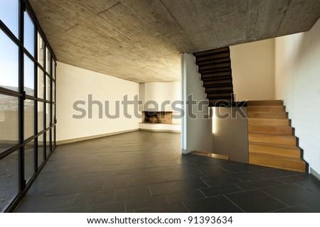 interior modern empty villa, room fireplace