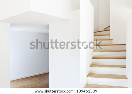 interior modern house, staircase and passage