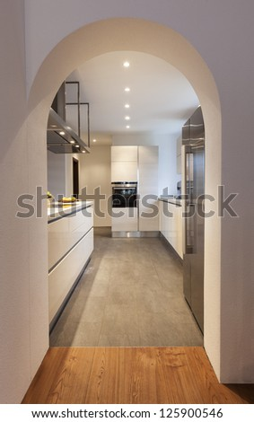 interior, modern loft, view of the kitchen