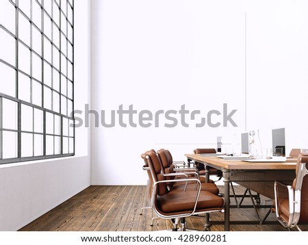 Interior modern meeting room with panoramic windows.Blank White Canvas on Wall.Generic Design Armchair and laptops in contemporary conference room.Horizontal mockup. 3D rendering
