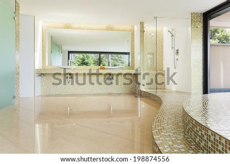 interior modern villa, beautiful bathroom