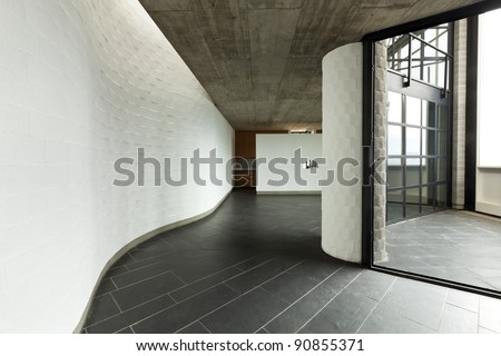 interior modern villa, long passage and balcony