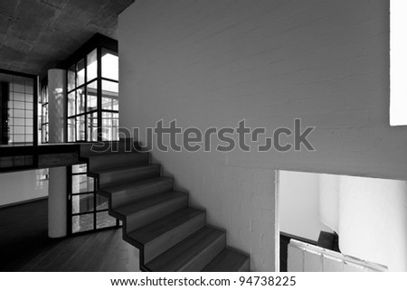 interior modern villa,  staircase, black and white