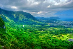 Interior mountains and landscape of Oahu Island, Hawaii