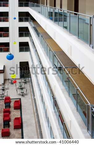 interior multistory lobby hotels, top view