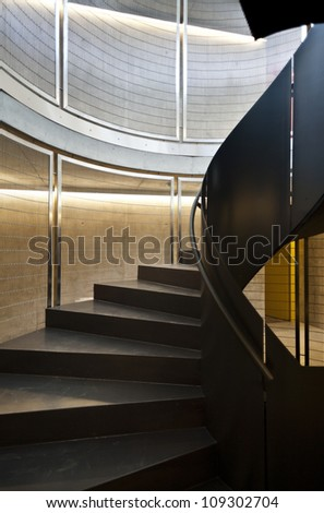 interior new building in cement, iron staircase