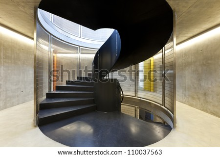 interior new building in cement, iron staircases