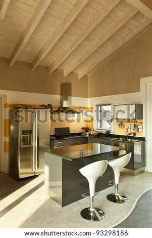 interior, new loft furnished, kitchen island with two stools