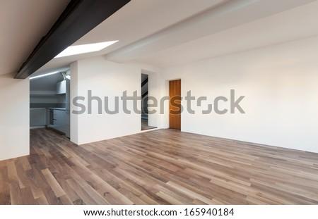Interior Nice Loft, Wall White, Parquet Floor