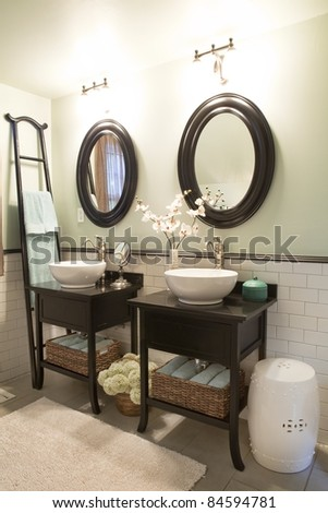 Interior of a bathroom with sinks and mirrors