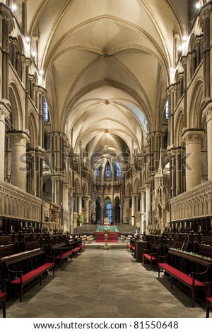 Interior of a beautiful gothic Canterbury Cathedral with pointed arches