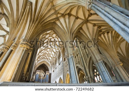 Interior of a beautiful gothic Wells Cathedral with pointed arches