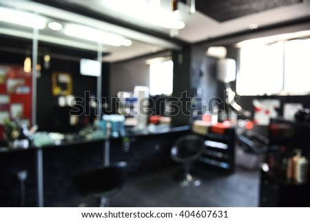 interior of a beauty and hair salon blurry