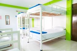 Interior of a bedroom in hostel.