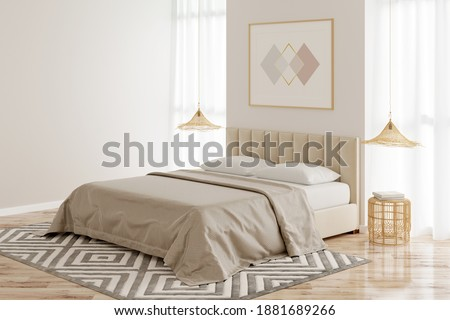 Interior of a beige bedroom with a horizontal poster on the wall between two windows, a bed with wicker chandeliers over bamboo bedside tables, and a beige carpet on the parquet floor. 3d render