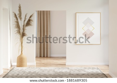 Interior of a beige hall with a vertical poster, pampas grass in a wicker vase between doorways, a carpet on a parquet floor, overlooking a room with a window. 3d render
