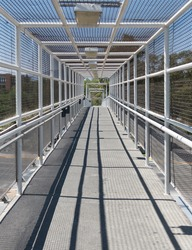 interior of a bridge with lines forming a tunnel, city tunnel concept