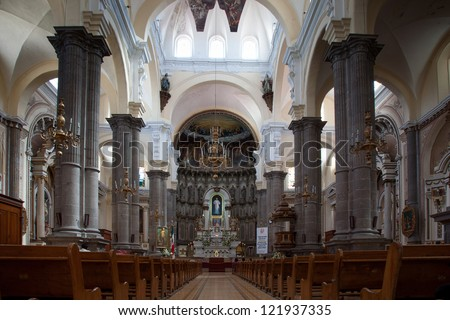 Interior of a catholic church in Puebla, Mexico. - stock photo