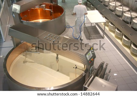 Interior of a cheese factory with modern equipment