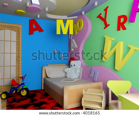 Room Interior  Kids on Interior Of A Children S Room 3d Image Stock Photo 4018165