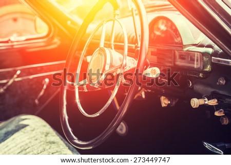 Interior of a classic vintage car #273449747