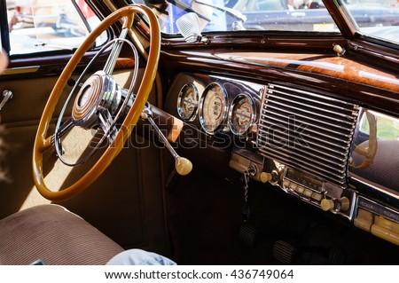 Interior of a classic vintage car #436749064
