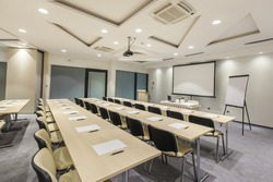 Interior of a conference hall  whit modern ceiling